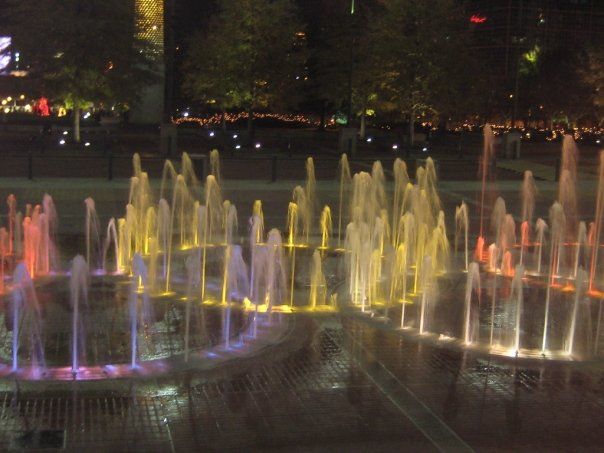 lit olympic fountain