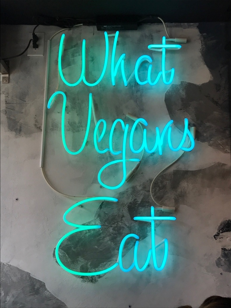 """What Vegans Eat"" Sign at Doomie's Toronto"