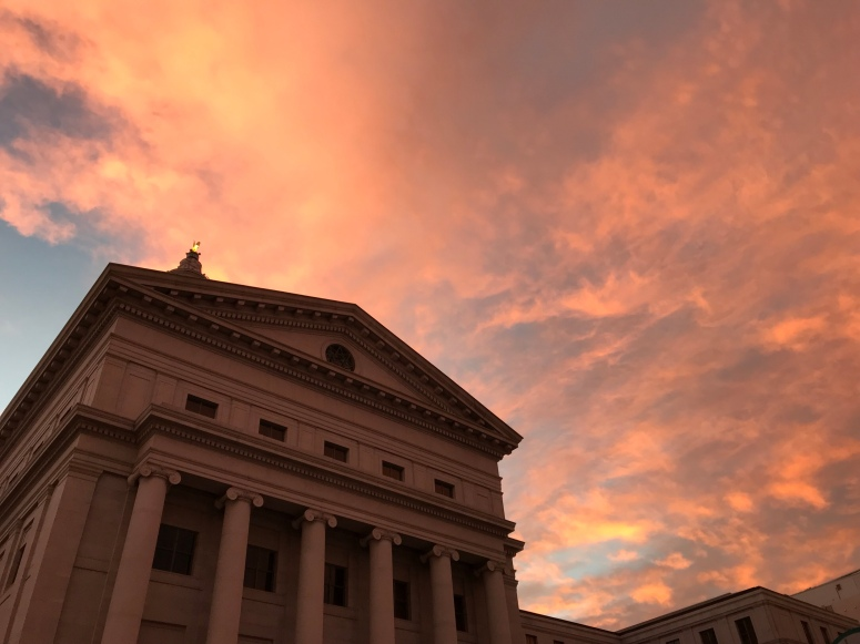Sunrise across from the Denver Mint