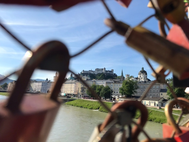 View through Love Lock Bridge in Salzburg