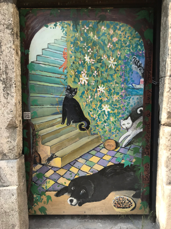 Painted Door with Cats