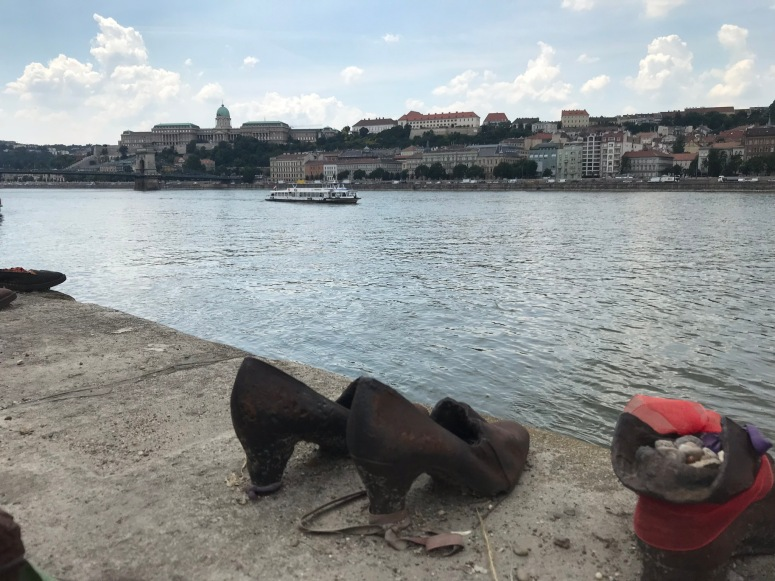 Shoes on the Danube with Buda Castle in the Background